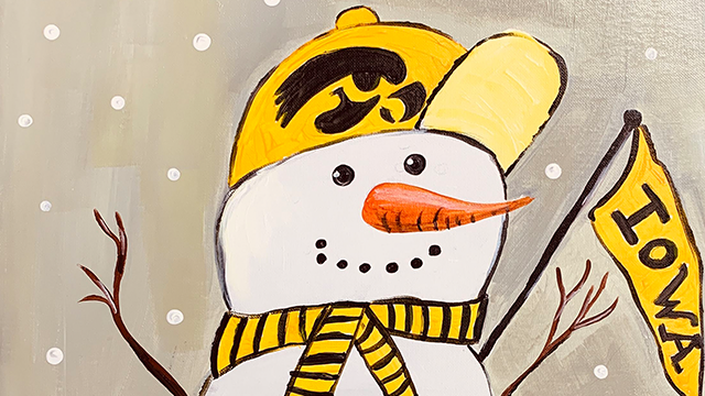 painting of snowman wearing hawkeye clothes